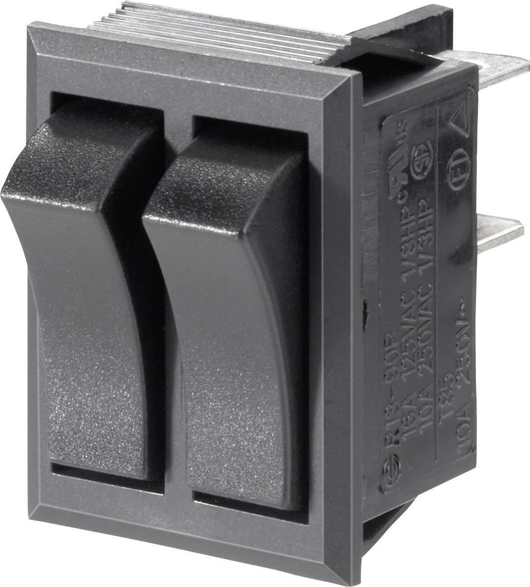Kolébkový spínač s aretací TRU COMPONENTS TC-R13-90PAA-01, 250 V/AC, 10 A, 2x vyp/zap, 1 ks