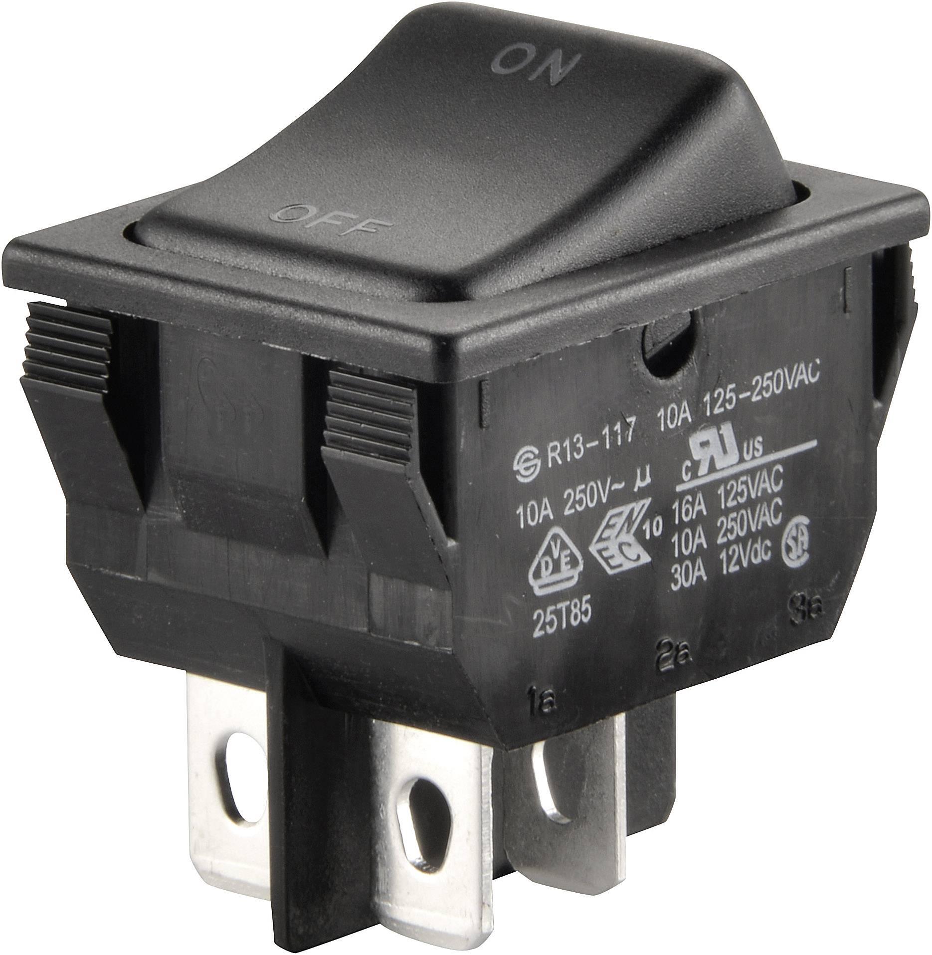 Kolískový spínač s aretáciou SCI R13-117A-01, 250 V/AC, 10 A