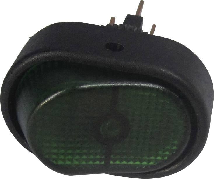 Kolébkový přepínač do auta SCI R13-133B-SQ GREEN, 12 V/DC, 30 A, s aretací, 1 ks