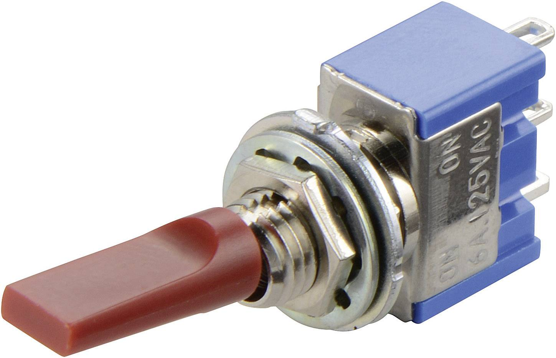 Miniaturní páčkový přepínač Miyama MS 500 F-MF, 250 V/AC, 3 A, 2x zap/zap, 1 ks