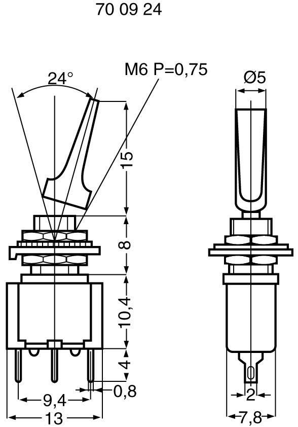 Pákový spínač Miyama MS 500 A-MF, 250 V/AC, 3 A, 1 ks
