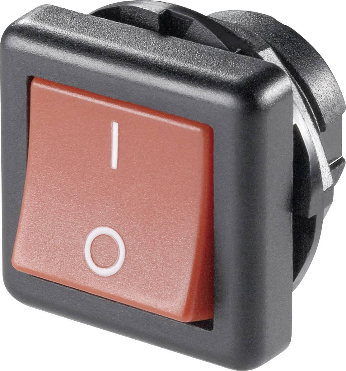 Kolískový spínač s aretáciou SCI R13-136A-05 RED, 250 V/AC, 6 A, 1x vyp/zap, 1 ks
