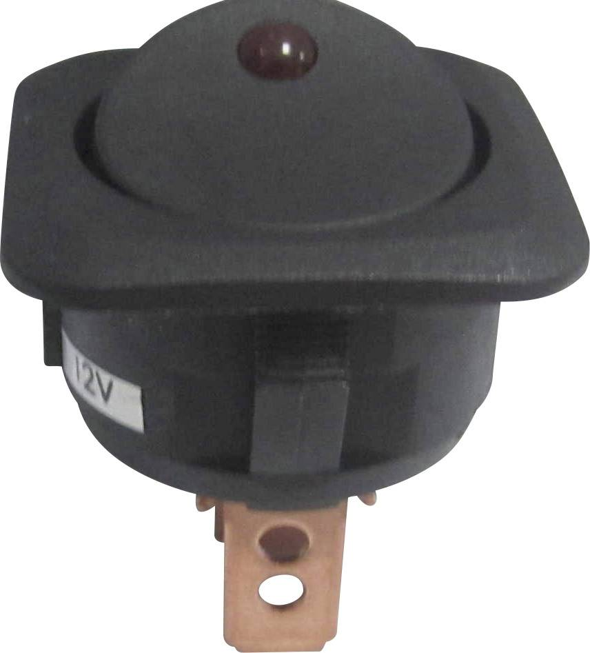 Kolískový spínač do auta TRU COMPONENTS TC-R13-203L-SQ RED 12 V/DC, 12 V/DC, 25 A, s aretáciou, 1 ks