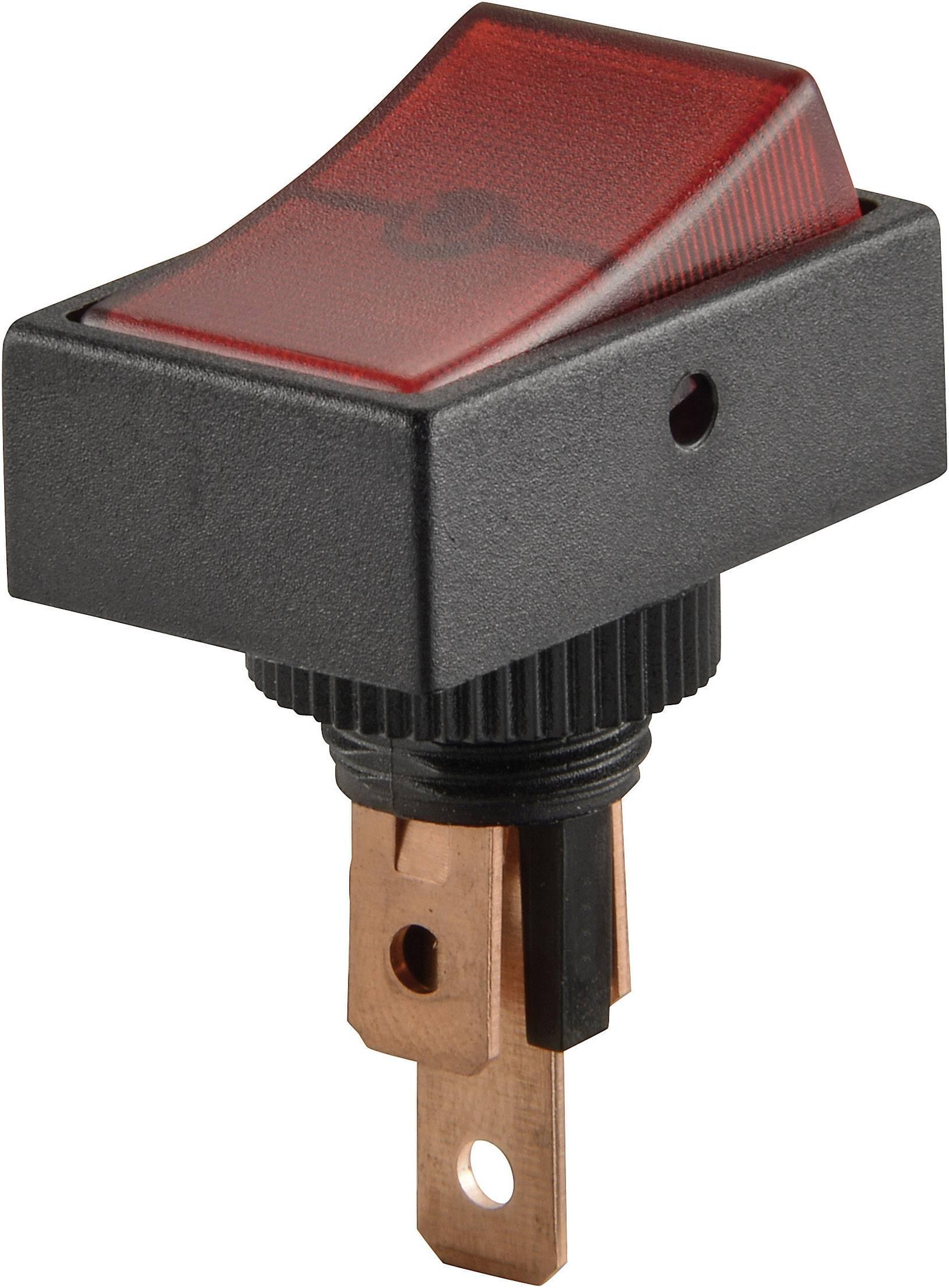 Kolískový spínač do auta SCI R13-207B2-SQ RED, 12 V/DC, 20 A, s aretáciou, 1 ks