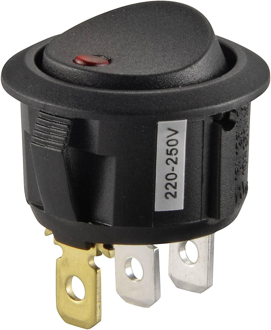 Kolískový spínač s aretáciou SCI R13-208B2-02 RD, 250 V/AC, 10 A