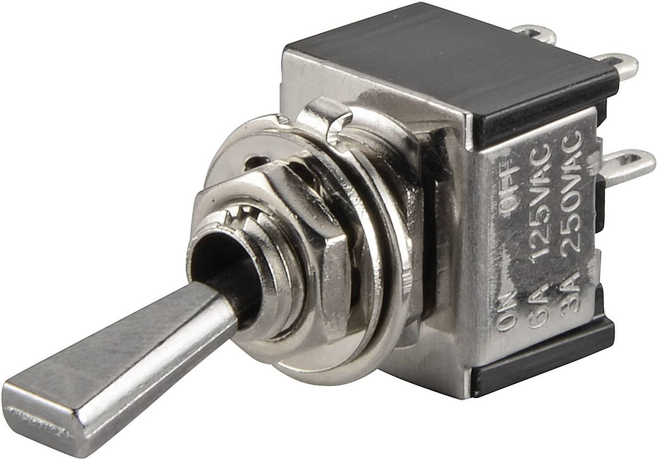 Páčkový spínač TRU COMPONENTS TC-TA201F1, 250 V/AC, 3 A, 2x vyp/zap, 1 ks