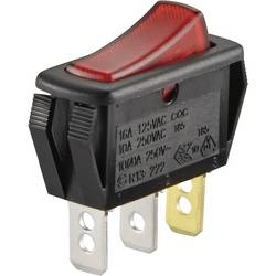 Kolébkový spínač SCI R13-222B-01, 250 V/AC, černá/červená