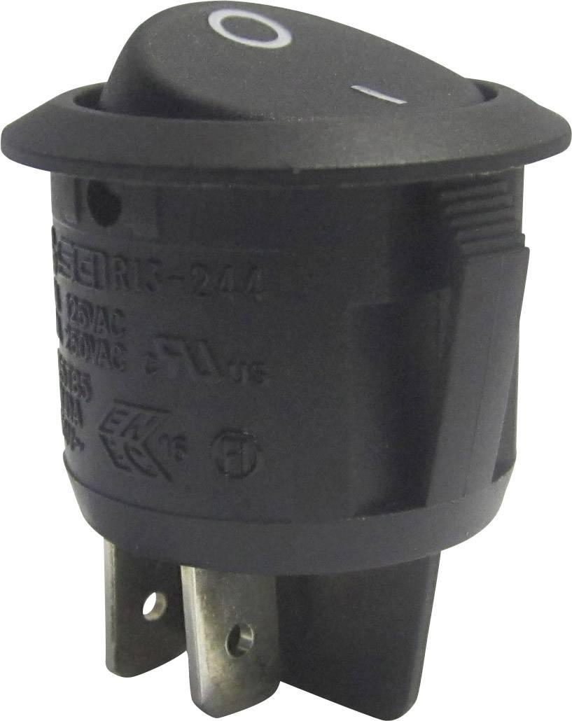Kolískový spínač s aretáciou SCI R13-244A-02 BLACK, 250 V/AC, 10 A, 2x vyp/zap, 1 ks