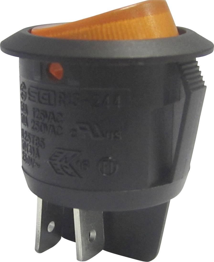 Kolískový spínač s aretáciou SCI R13-244B-02 B/Y 220 V/AC, 250 V/AC, 10 A, 2x vyp/zap, Farba svetla: žltá, 1 ks