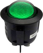 Kolískový spínač s aretáciou SCI R13-244B-02 B/G 220 V/AC, 250 V/AC, 10 A, 2x vyp/zap, Farba svetla: zelená, 1 ks