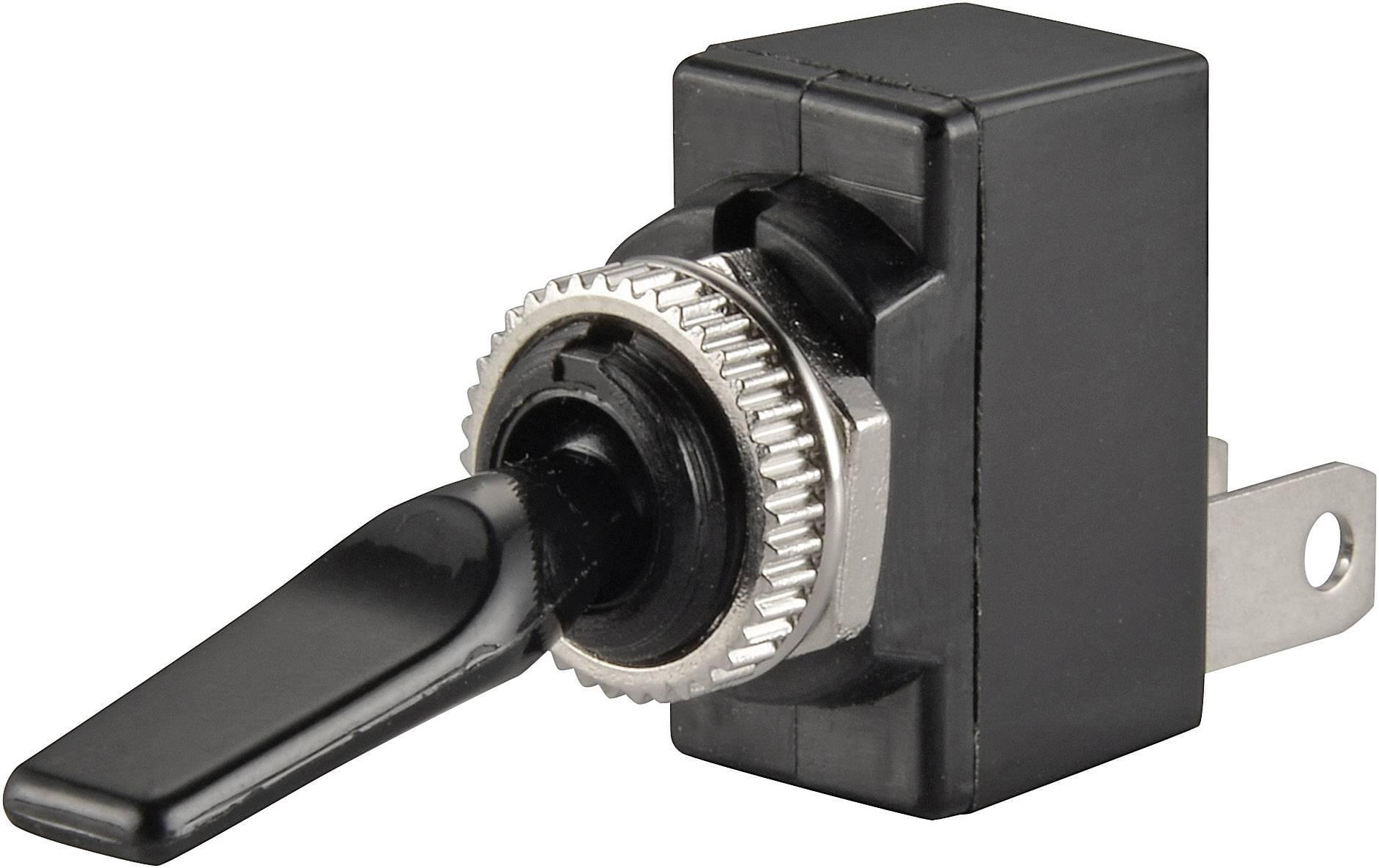 Páčkový prepínač do auta TRU COMPONENTS TC-R13-18B-SQ BLACK LEVER, 12 V/DC, 20 A, s aretáciou, 1 ks