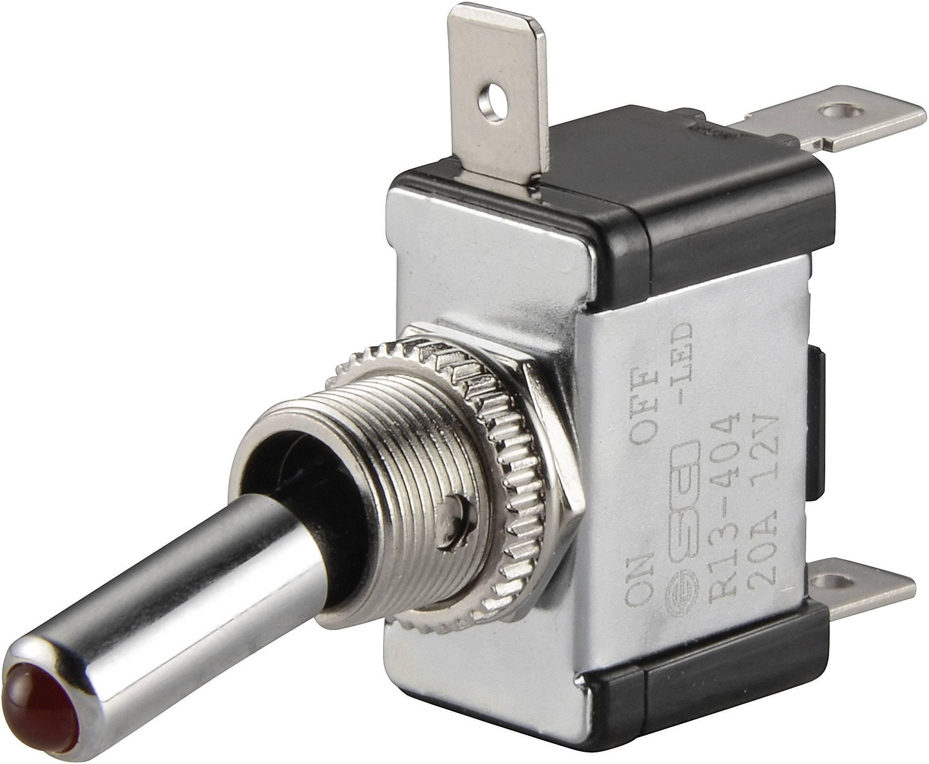 Páčkový prepínač do auta SCI R13-404-SQ RED, 12 V/DC, 20 A, s aretáciou, 1 ks