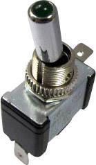 Páčkový přepínač do auta SCI R13-404-SQ GREEN, 12 V/DC, 20 A, s aretací, 1 ks