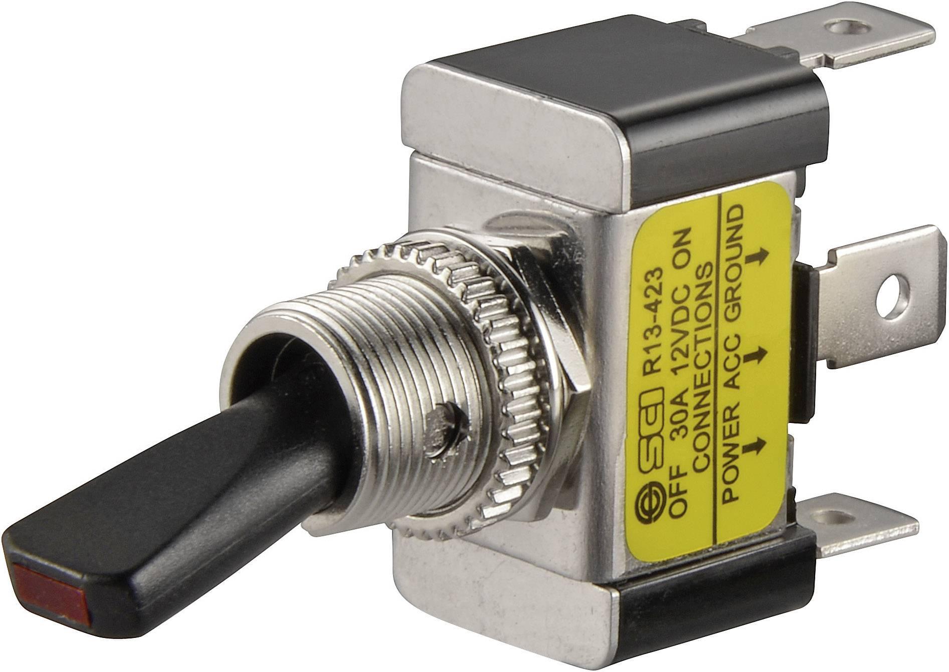Páčkový prepínač do auta SCI R13-423L GELB, 12 V/DC, 30 A, s aretáciou, 1 ks