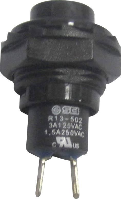 Tlačidlo SCI R13-502A-05BK, 250 V/AC, 1.5 A, čierna, 1 ks
