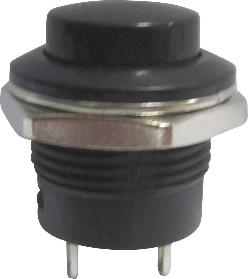 Tlačidlo SCI R13-507A-05BK, 250 V/AC, 3 A, čierna, 1 ks