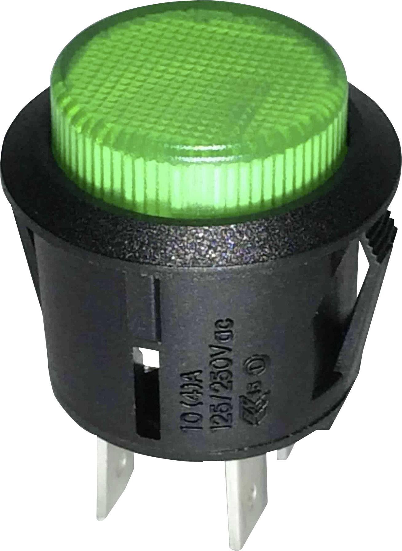 Tlačidlový spínač SCI R13-523BL-05GN, 250 V/AC, 1.5 A, čierna, zelená, 1 ks