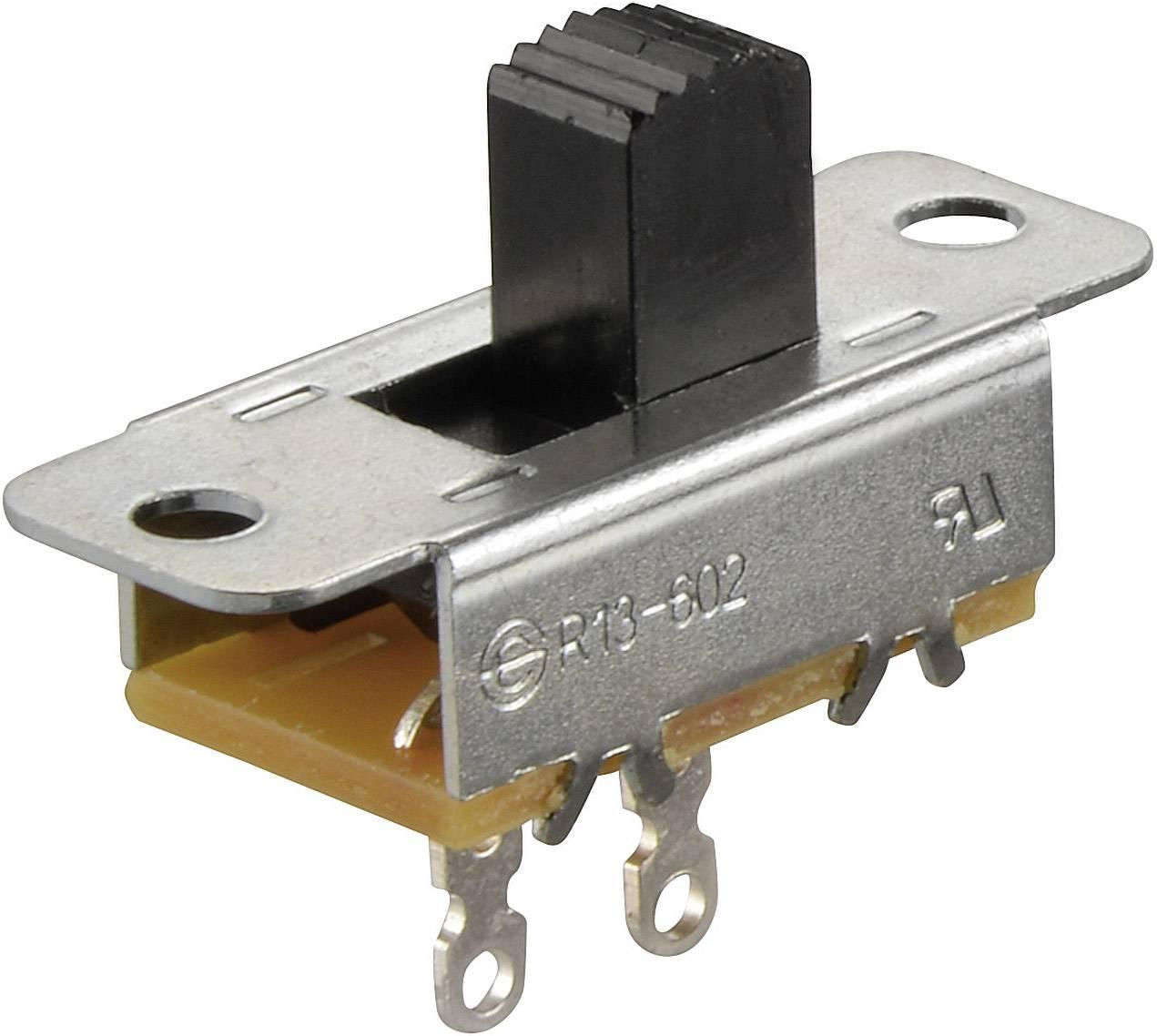 Posuvný prepínač TRU COMPONENTS TC-R13-602A-05, 250 V/AC, 6 A, 1x zap/vyp, 1 ks