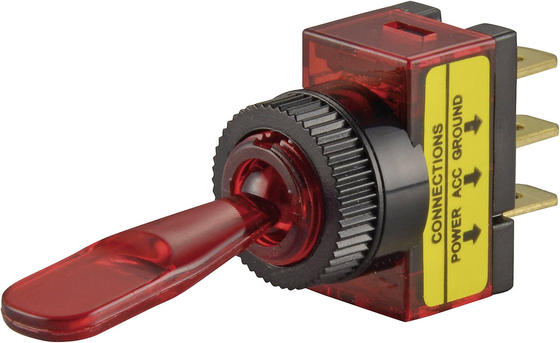 Páčkový přepínač do auta SCI R13-61B ILLUMINATED RED, 12 V/DC, 20 A, s aretací, 1 ks