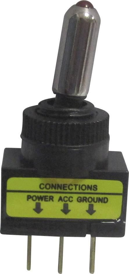 Páčkový prepínač do auta SCI R13-61L2 ILLUMINATED RED, 12 V/DC, 20 A, s aretáciou, 1 ks