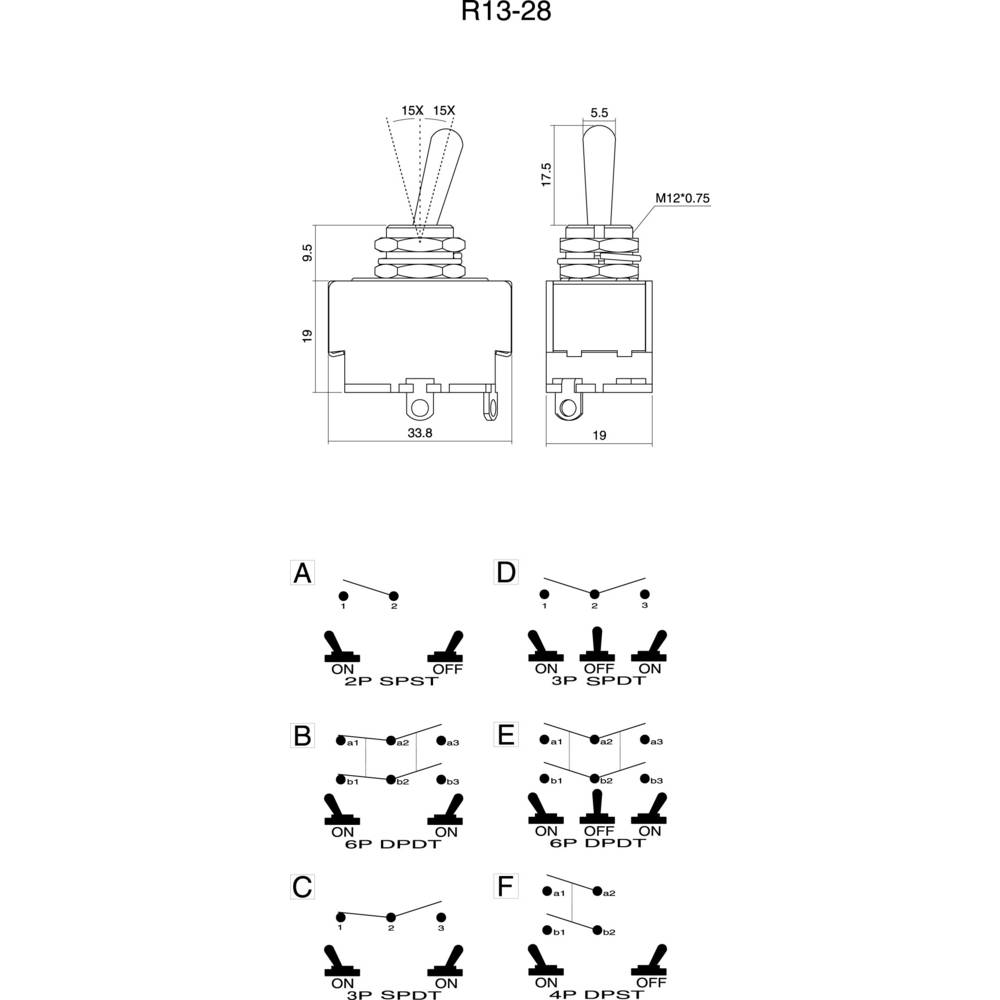 Páčkový spínač SCI R13-28A-06, 250 V/AC, 10 A, 1x vyp/zap