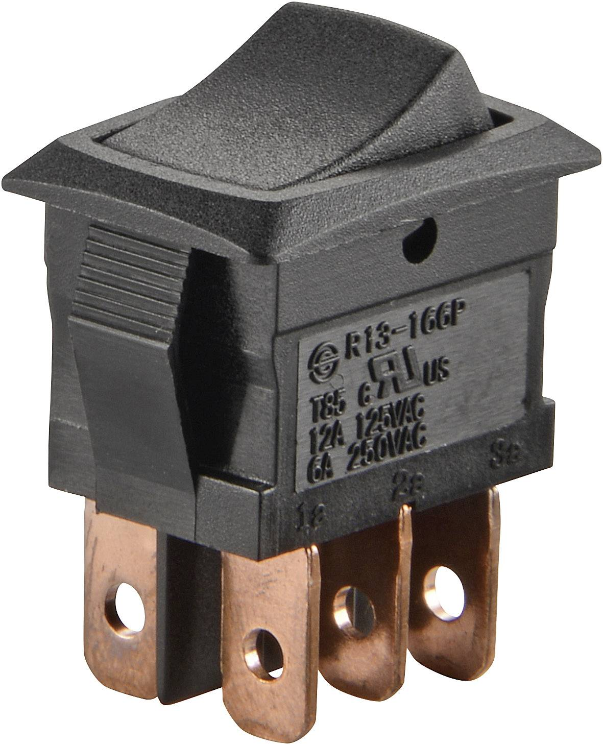 Kolískový spínač s aretáciou SCI R13-166PB-02, 250 V/AC, 6 A, 2x zap/zap, 1 ks