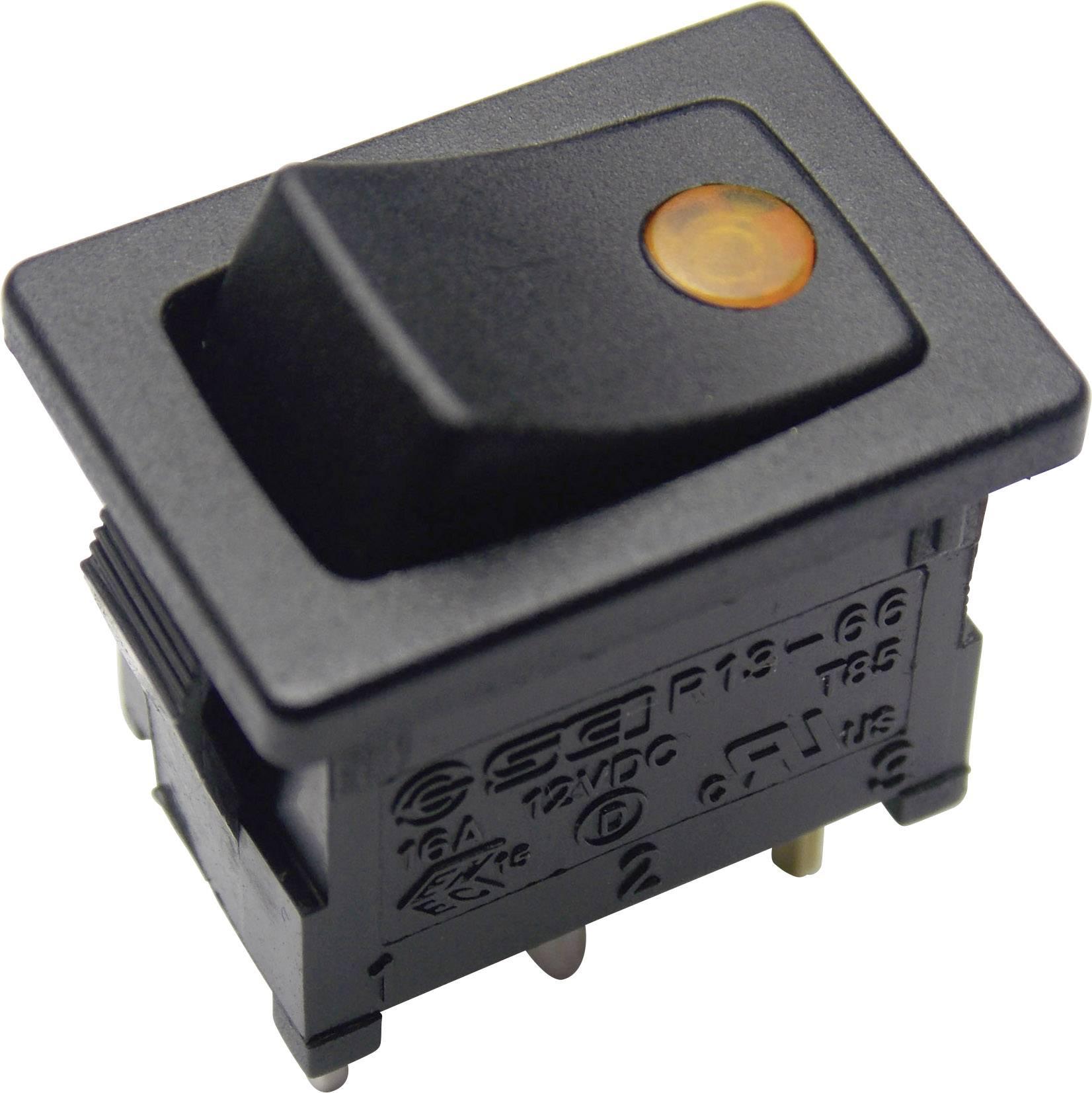 Kolískový spínač SCI R13-66B2-02 B/B s aretáciou 12 V/DC, 16 A, 1x vyp/zap, čierna, žltá, 1 ks