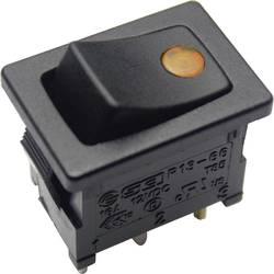 Kolískový spínač s aretáciou TRU COMPONENTS TC-R13-66B2-02 B/B, 12 V/DC, 16 A, 1x vyp/zap, Farba svetla: žltá, 1 ks