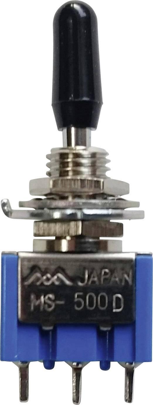 Miniatúrny pákový spínač Miyama MS 500-BC-D, 125 V/AC, 6 A, 1x zap/vyp/(zap), 1 ks