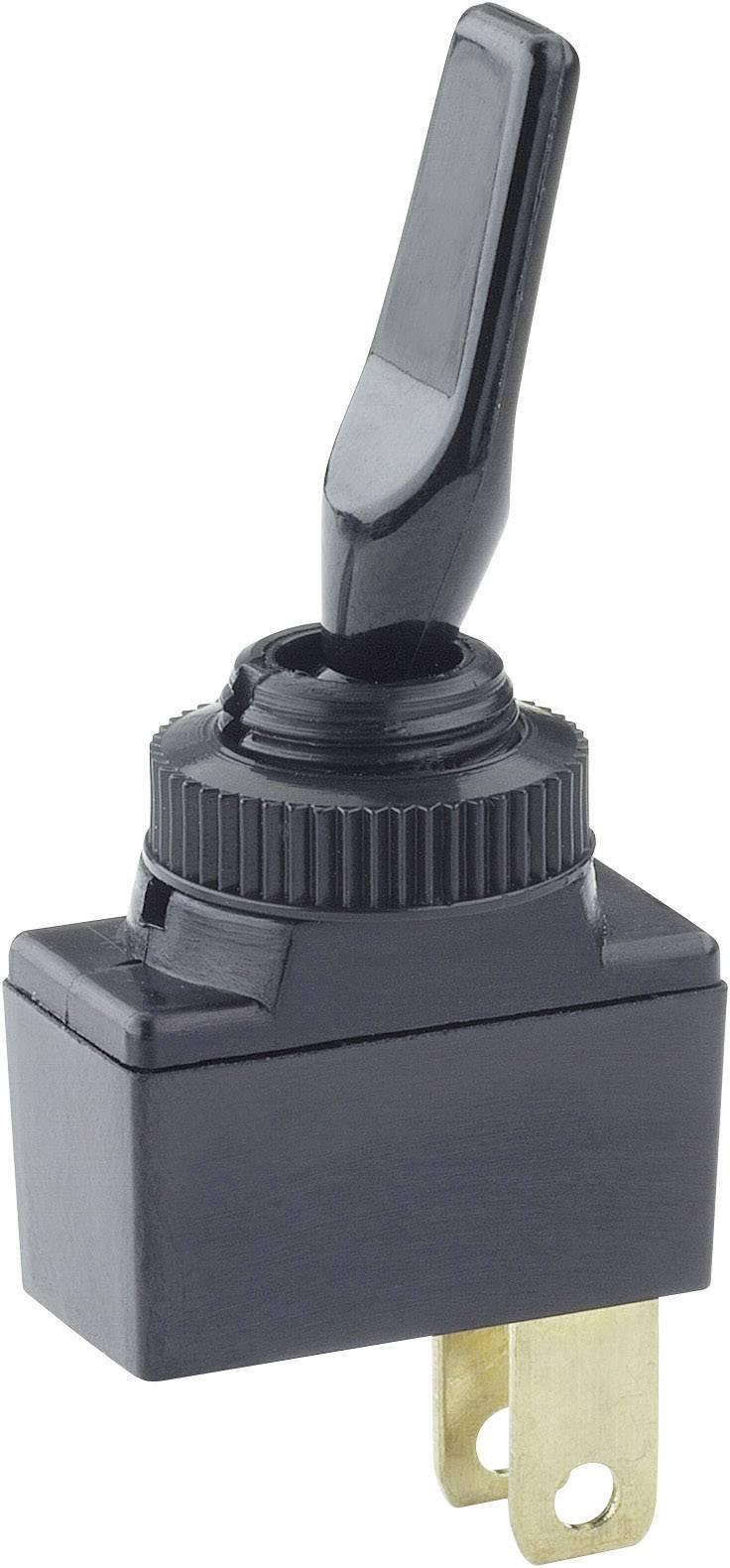 Páčkový přepínač do auta SCI R13-18BS-SQ, 12 V/DC, 10 A, s aretací, 1 ks