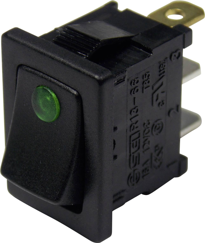 Kolískový spínač s aretáciou TRU COMPONENTS TC-R13-66B2-02 B/B, 12 V/DC, 16 A, 1x vyp/zap, farba svetla: zelená, 1 ks