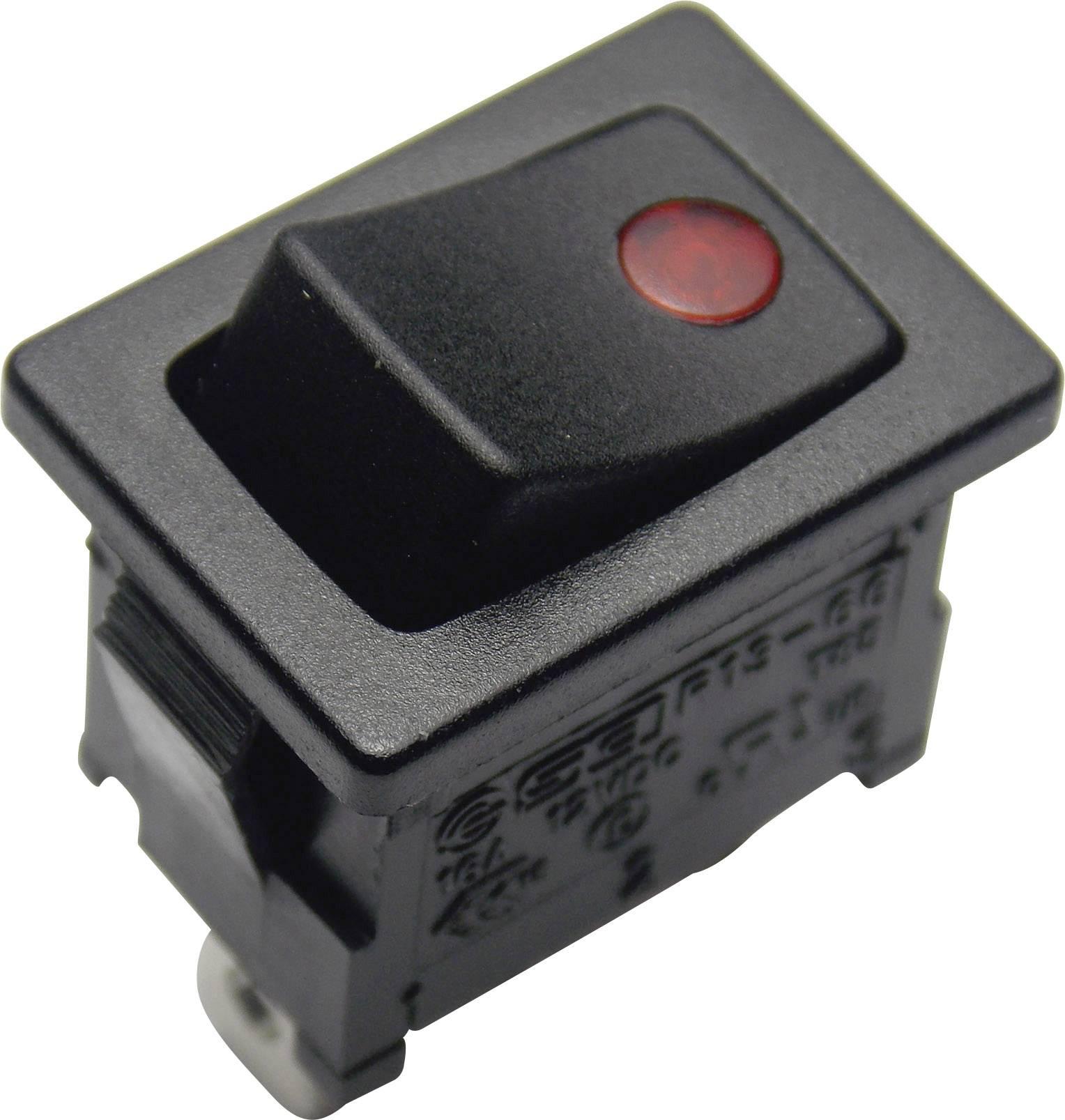 Kolébkový spínač SCI R13-66B2-02 B/B s aretací 12 V, 16 A, 1x vyp/zap, černá, červená, 1 ks