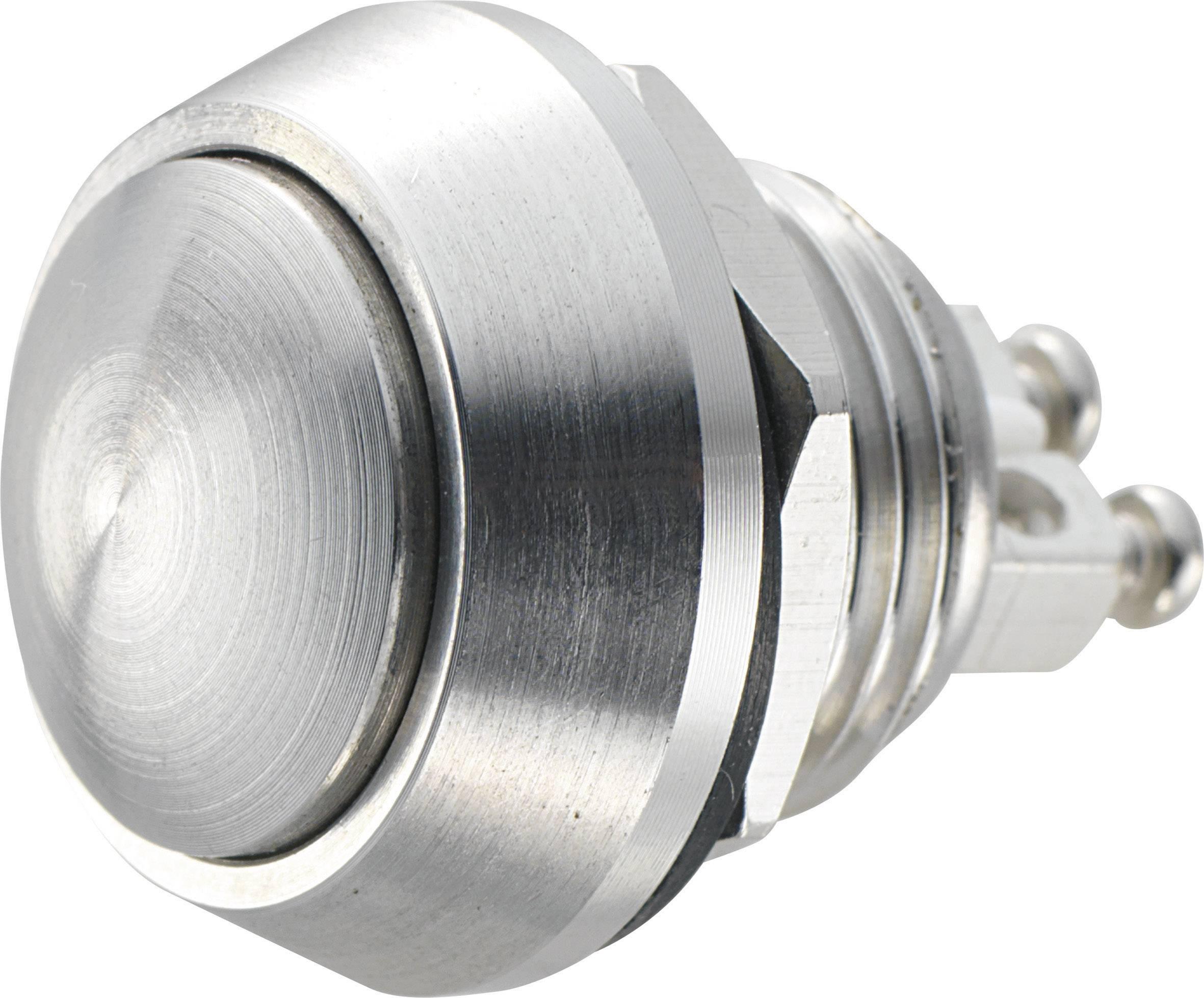 Stláčacie tlačidlo s ochranou pred vandalmi TRU COMPONENTS GQ12B-S, 48 V/DC, 2 A, nerezová oceľ, 1 ks