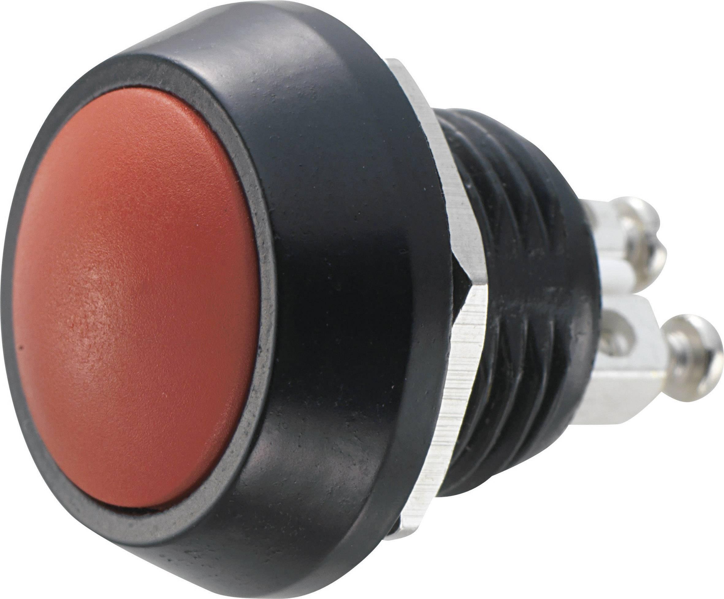 Stláčacie tlačidlo s ochranou pred vandalmi TRU COMPONENTS GQ12B-A, RD, 48 V/DC, 2 A, čierna, červená, 1 ks