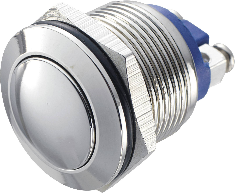 Tlačítko antivandal bez aretace TRU COMPONENTS GQ 19B-N, 48 V/DC, 2 A, mosaz, 1x vyp/(zap)