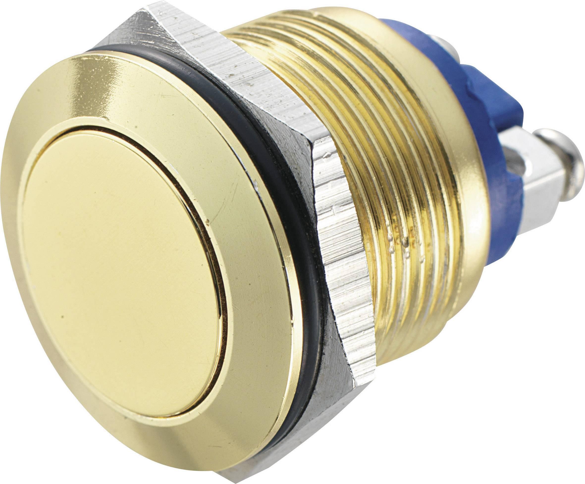 Tlačítko antivandal TRU COMPONENTS GQ 19F-G, 48 V/DC, 2 A, mosaz, plochý hmatník, 1 ks