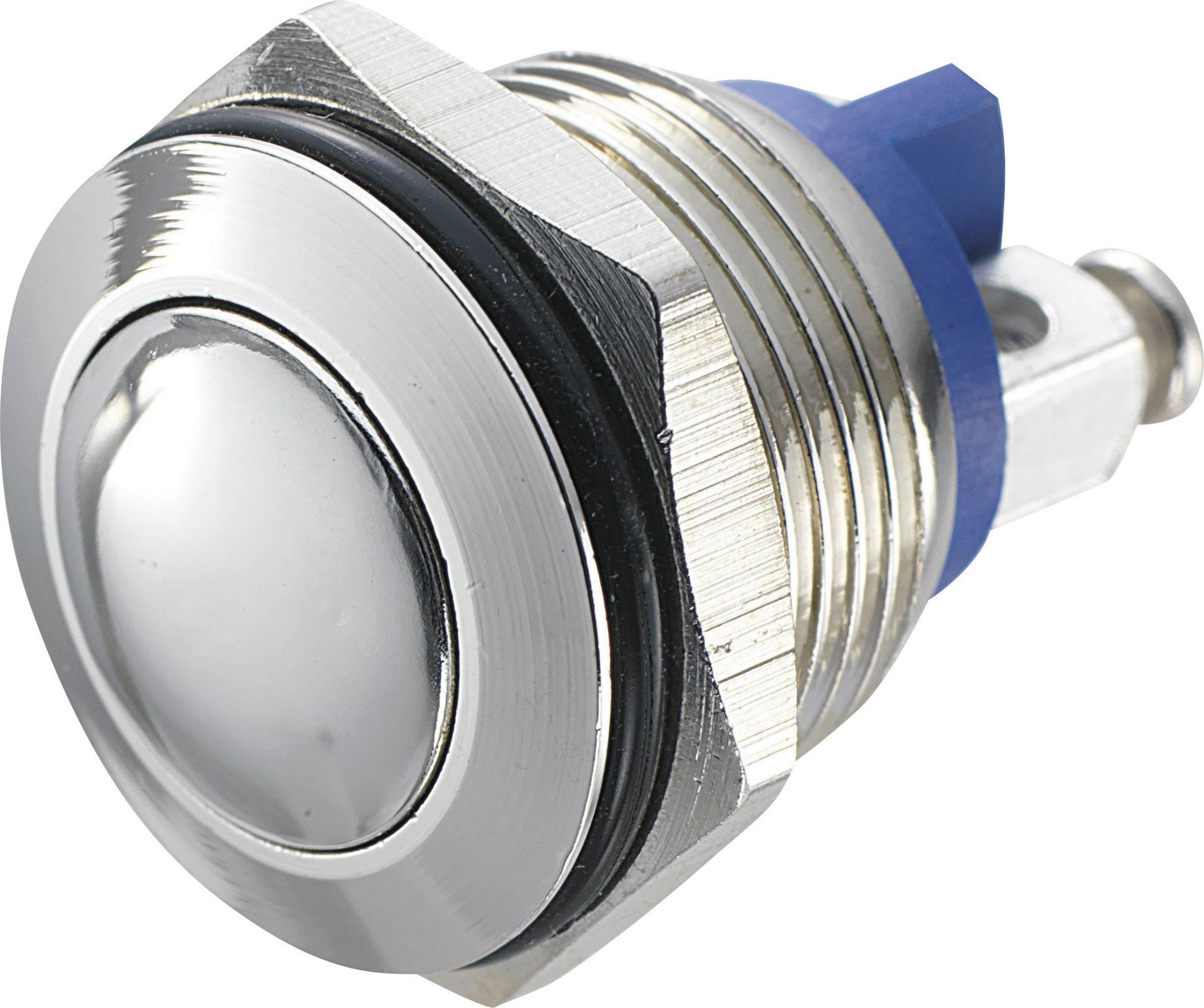 Stláčacie tlačidlo s ochranou pred vandalmi TRU COMPONENTS GQ 16B-N, 48 V/DC, 2 A, mosadz, 1 ks