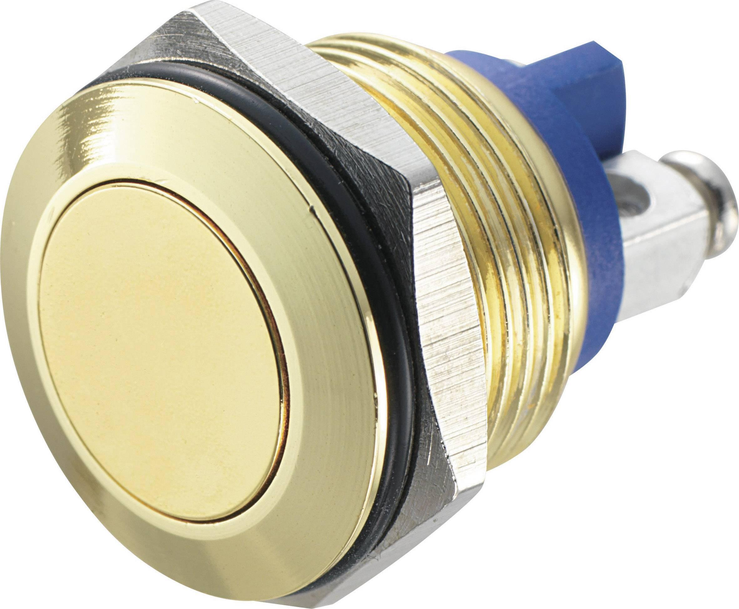 Stláčacie tlačidlo s ochranou pred vandalmi TRU COMPONENTS GQ 16F-G, 48 V/DC, 2 A, mosadz, 1 ks