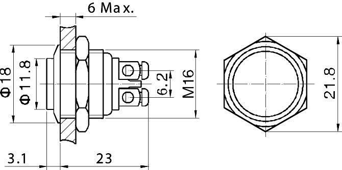 Tlačítko zajištěné proti vandalismu 16 mm, GQ16H-N 2A /48V, 1x vyp/(zap)