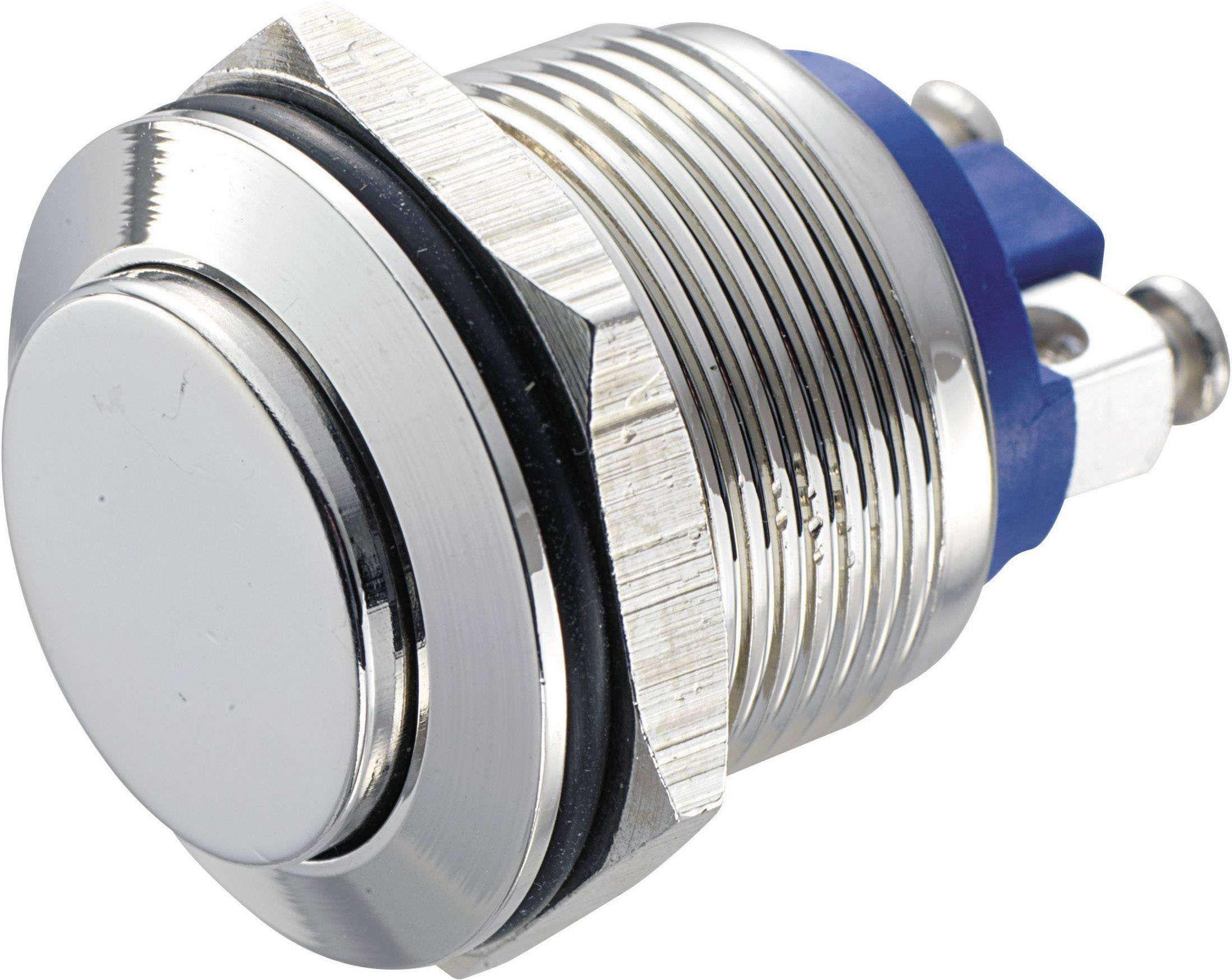 Stláčacie tlačidlo s ochranou pred vandalmi TRU COMPONENTS GQ 19H-N, 48 V/DC, 2 A, mosadz, 1 ks