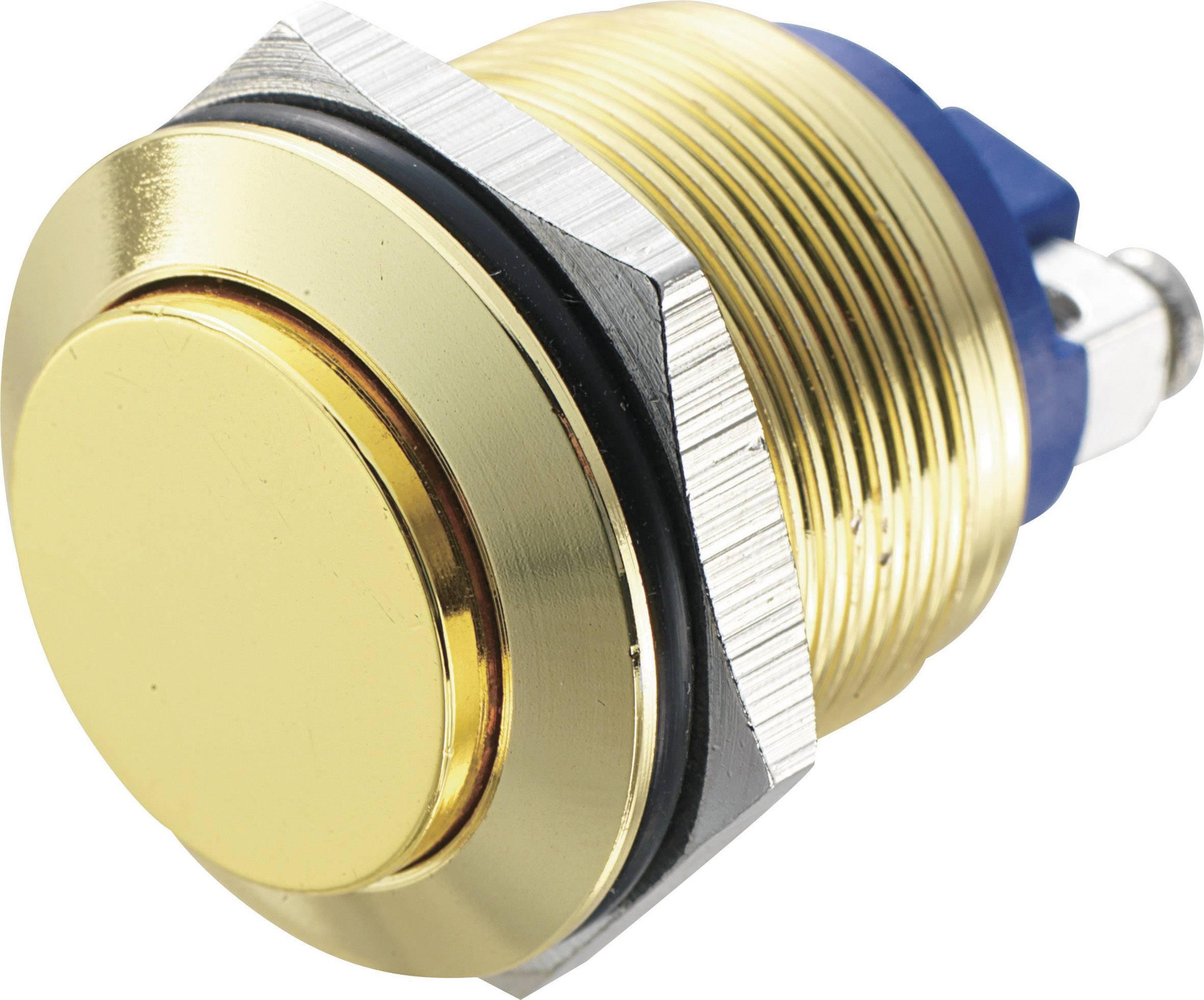 Tlačítko antivandal TRU COMPONENTS GQ 19H-G, 48 V/DC, 2 A, mosaz, 1 ks