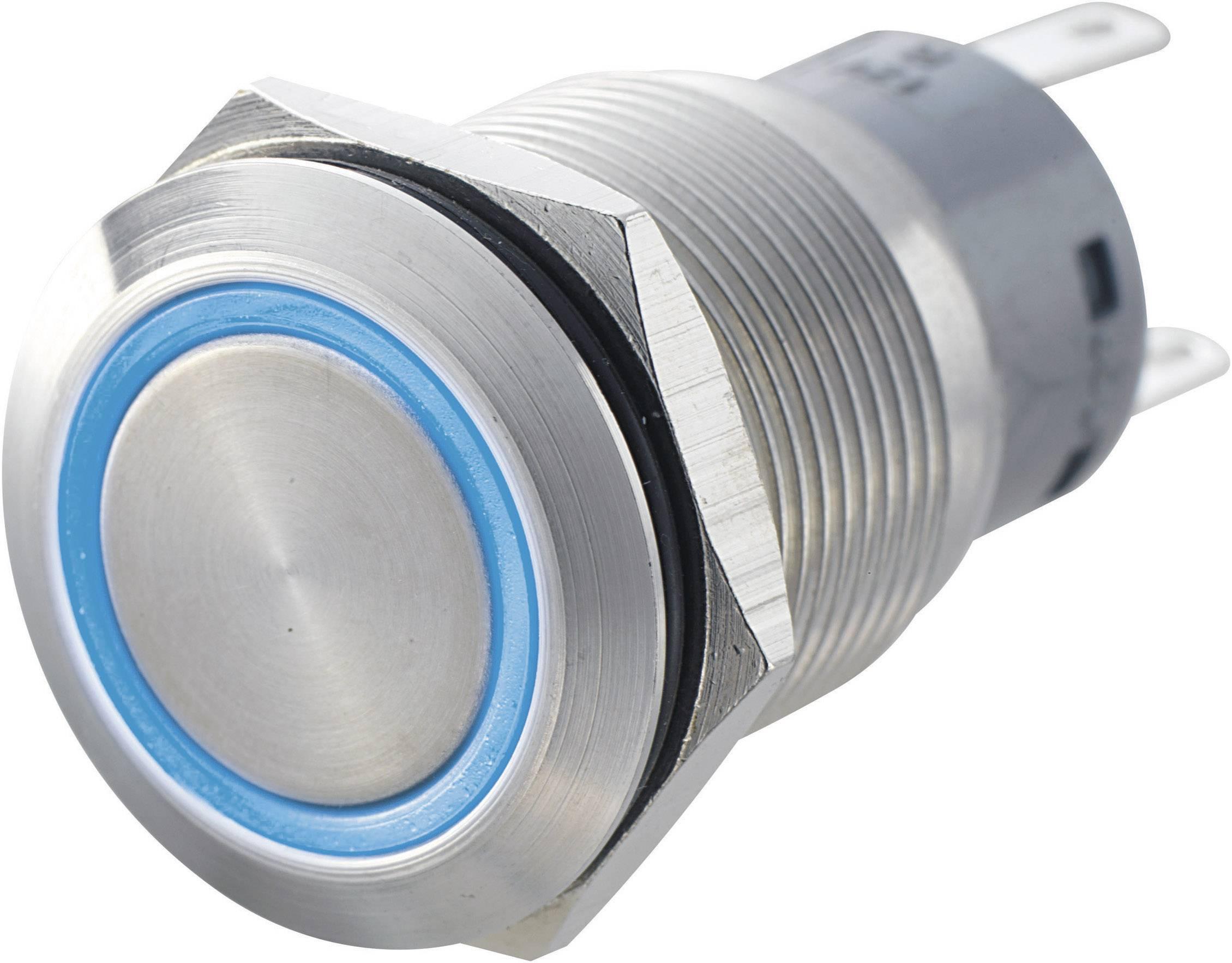 Tlačítko antivandal bez aretace TRU COMPONENTS LAS1-AGQ-11E, RD, 250 V/AC, 5 A, nerezová ocel, 1x zap/(zap), červená