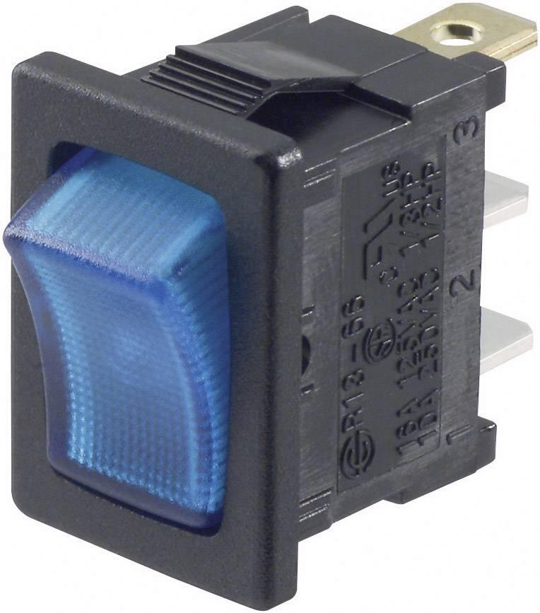 Kolískový spínač SCI R13-66B-02 LED 12 V s aretáciou 12 V/DC, 16 A, 1x vyp/zap, čierna, modrá, 1 ks