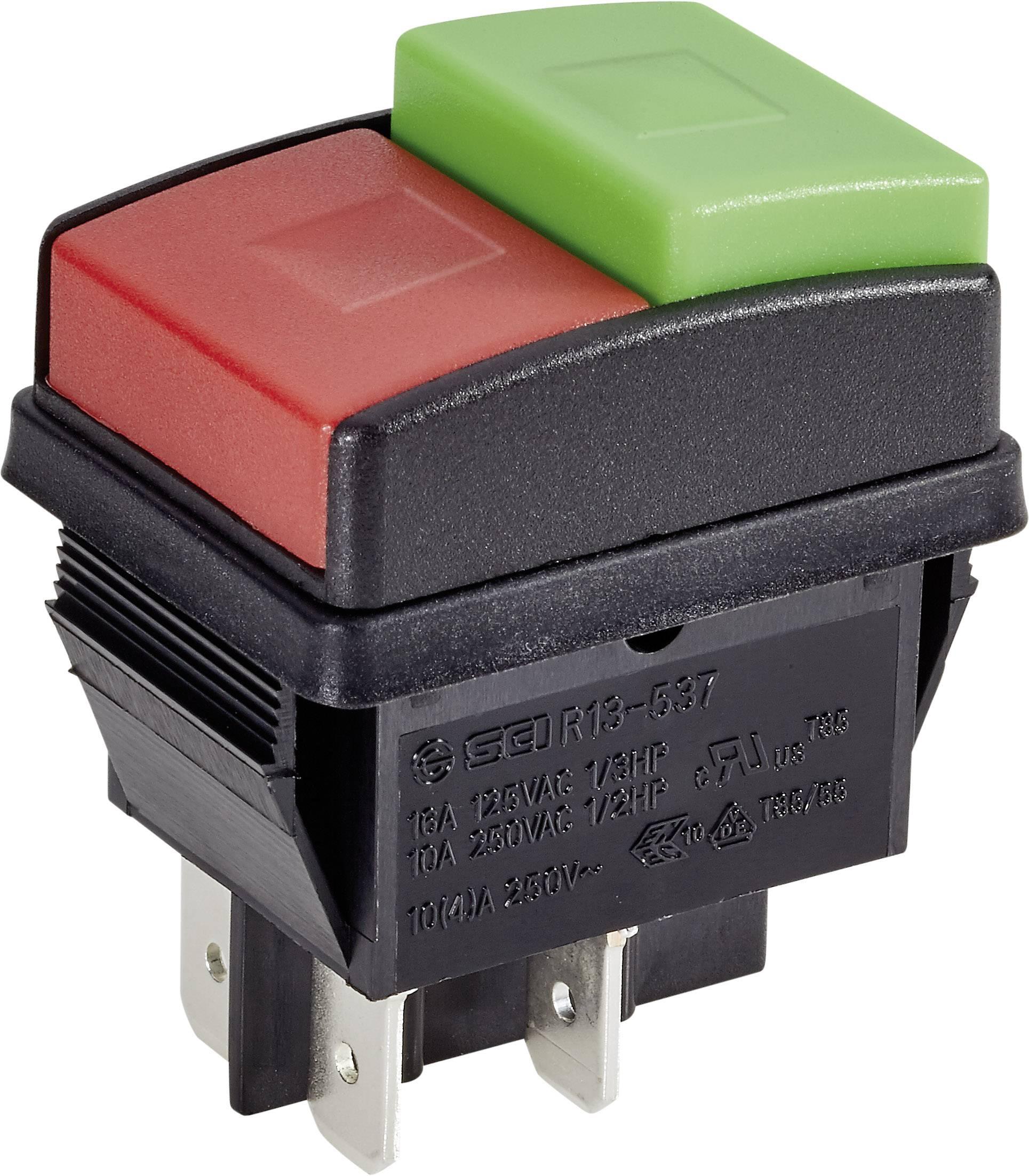 Tlačidlo SCI R13-537A B/R/G, 250 V/AC, 10 A, čierna, červená, zelená, 1 ks