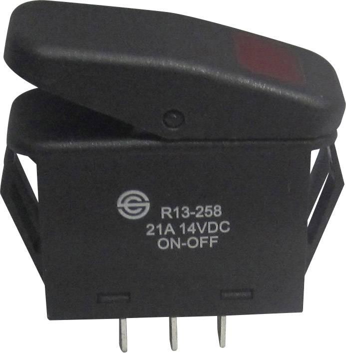 Kolískový spínač s aretáciou SCI R13-258B B/R, 14 V/DC, 21 A, 1x vyp/zap, IP66, Farba svetla: červená, 1 ks