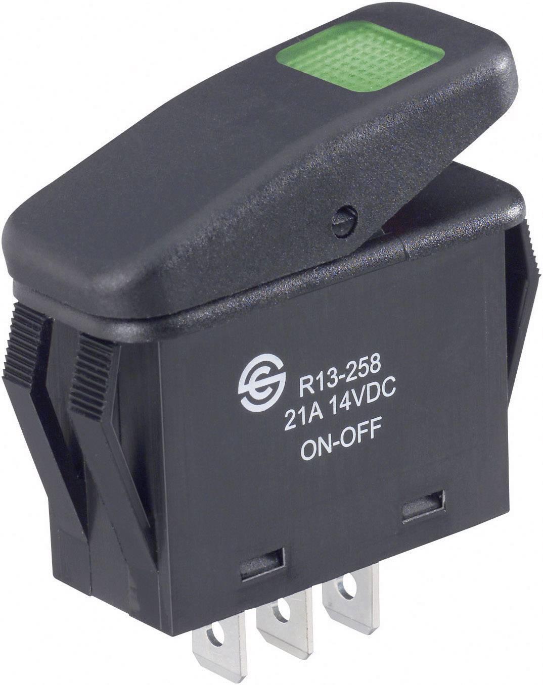 Kolískový spínač s aretáciou SCI R13-258B B/G, 14 V/DC, 21 A, 1x vyp/zap, IP66, farba svetla: zelená, 1 ks