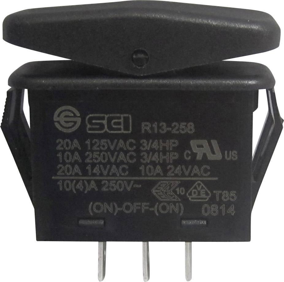 Kolískový spínač bez aretácie/0/bez aretácie SCI R13-258I, 14 V/AC, 21 A, 1x (zap)/vyp/(zap), IP66, 1 ks