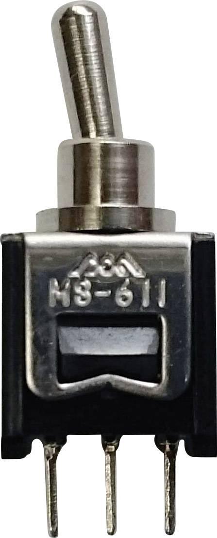 Pákový spínač na DPS 611A, 250 V/AC, 0.15 A, 1 zap/zap, 1 ks