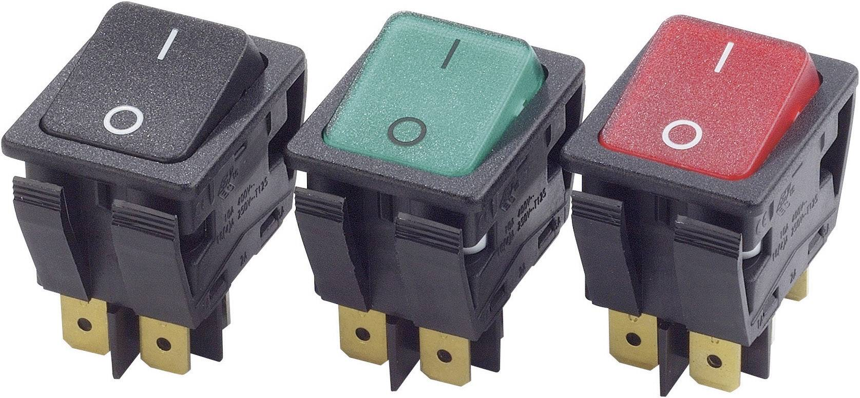 Kolébkový spínač s aretací Arcolectric C6050ALAAC, 250 V/AC, 16 A, 2x vyp/zap, bez osvětlení, 1 ks