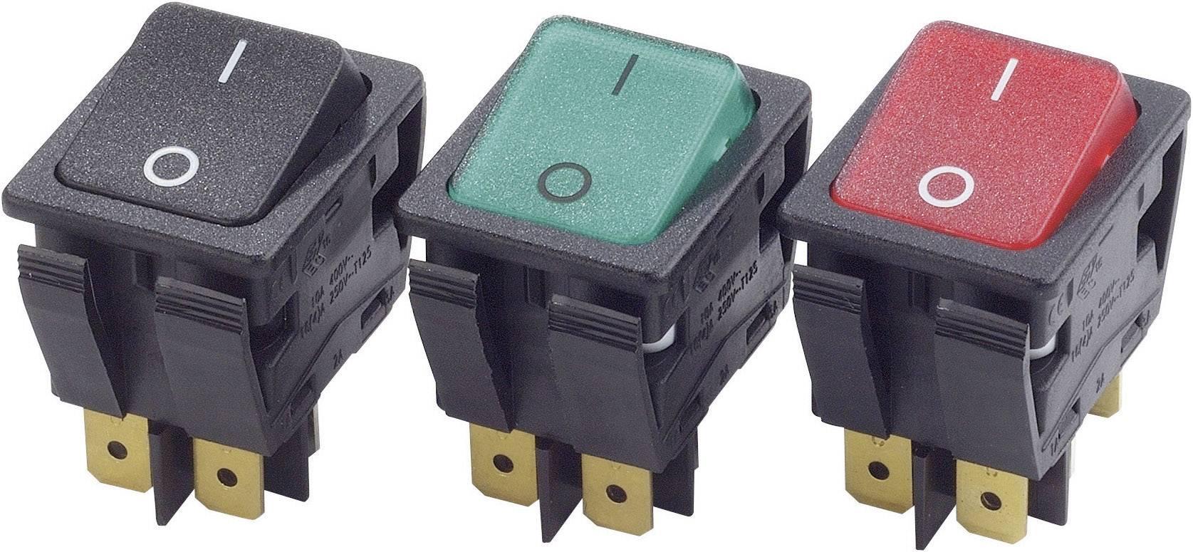 Kolébkový spínač s aretací Arcolectric C6053ALNAH, 230 V/AC, 16 A, 2x vyp/zap, Barva světla: zelená, 1 ks
